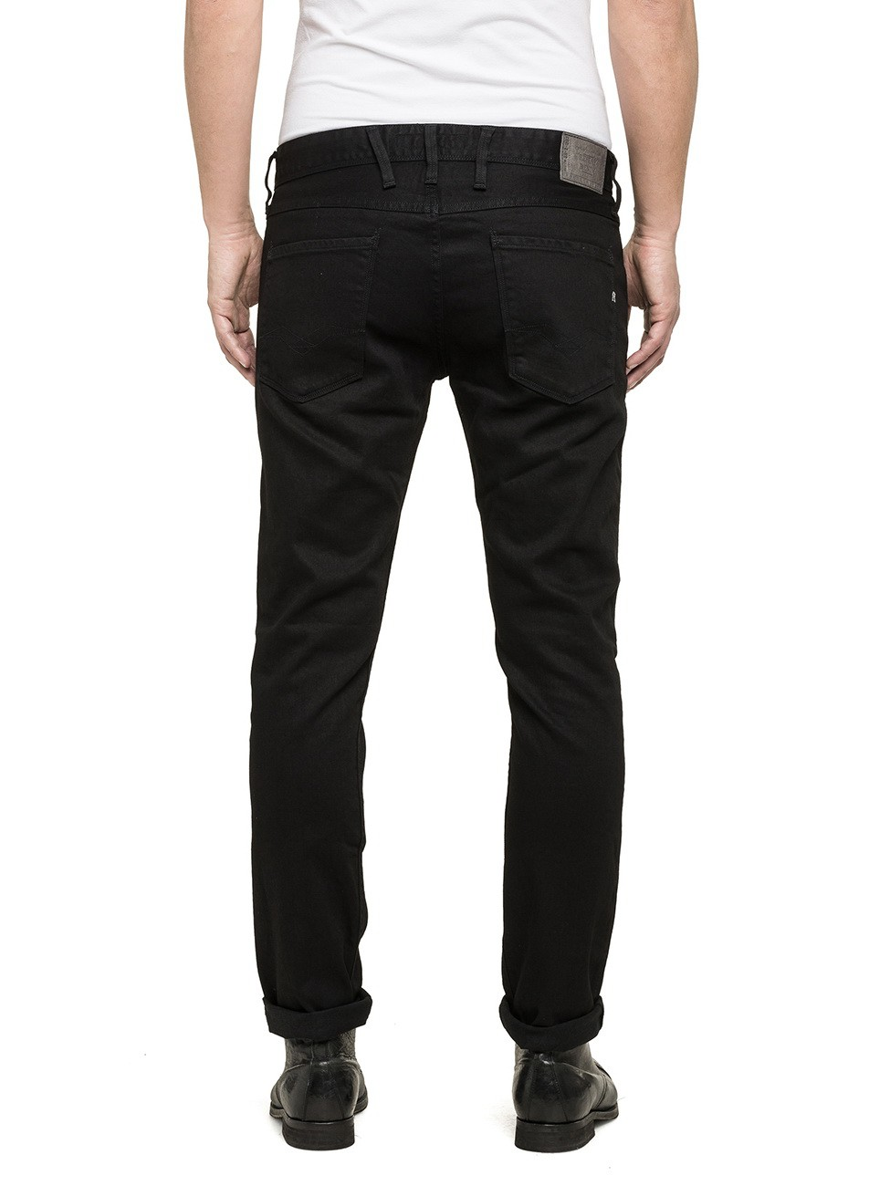 replay herren jeans anbass m914 473 07s slim fit black ebay. Black Bedroom Furniture Sets. Home Design Ideas