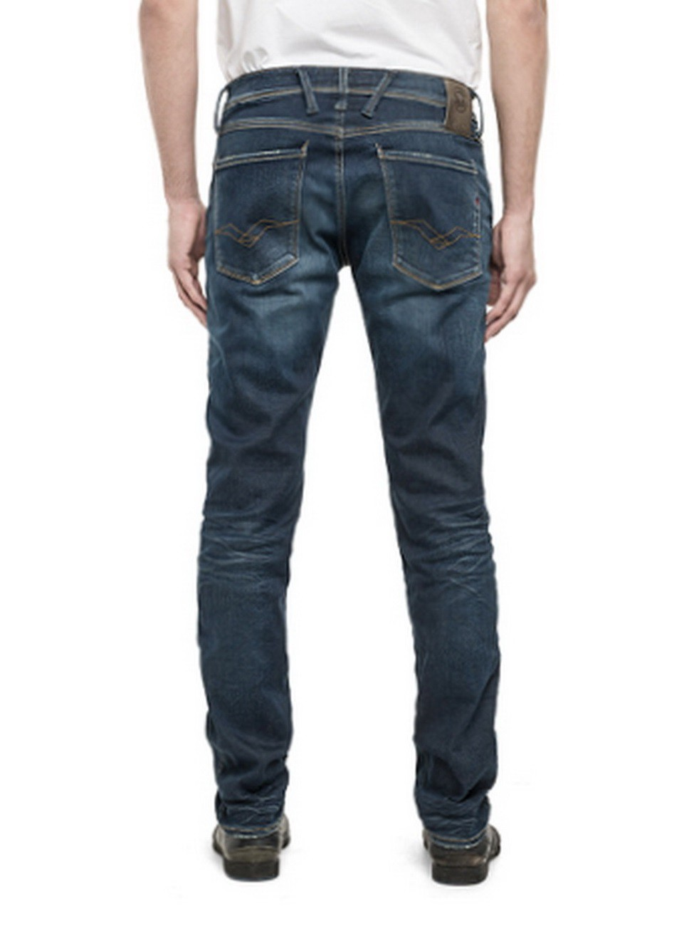 replay herren hyperflex jeans anbass m914 661 604 slim fit deep blue. Black Bedroom Furniture Sets. Home Design Ideas