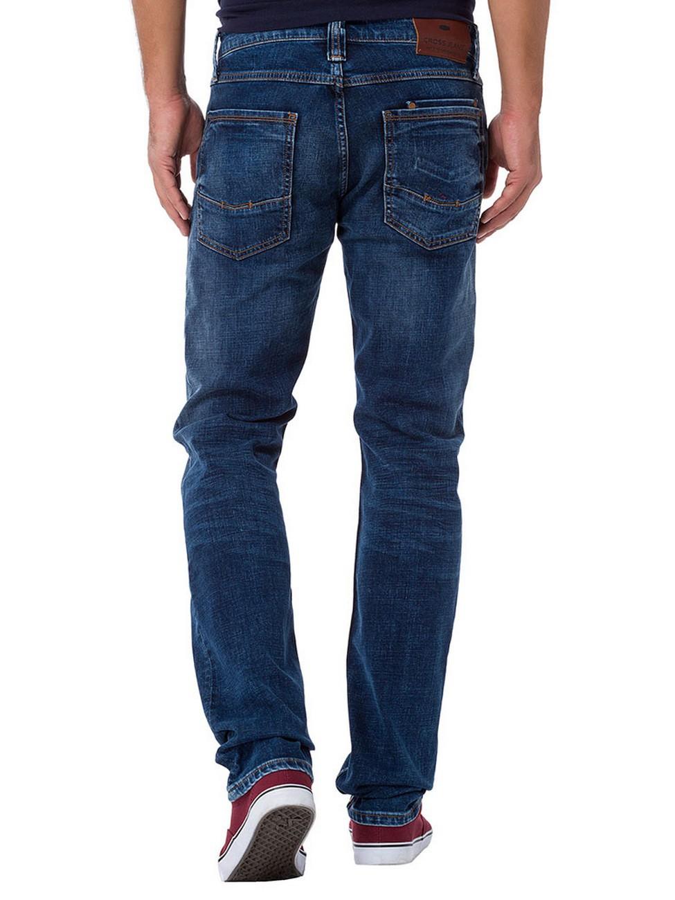 cross herren jeans dylan e195 042 regular fit deep blue ebay. Black Bedroom Furniture Sets. Home Design Ideas