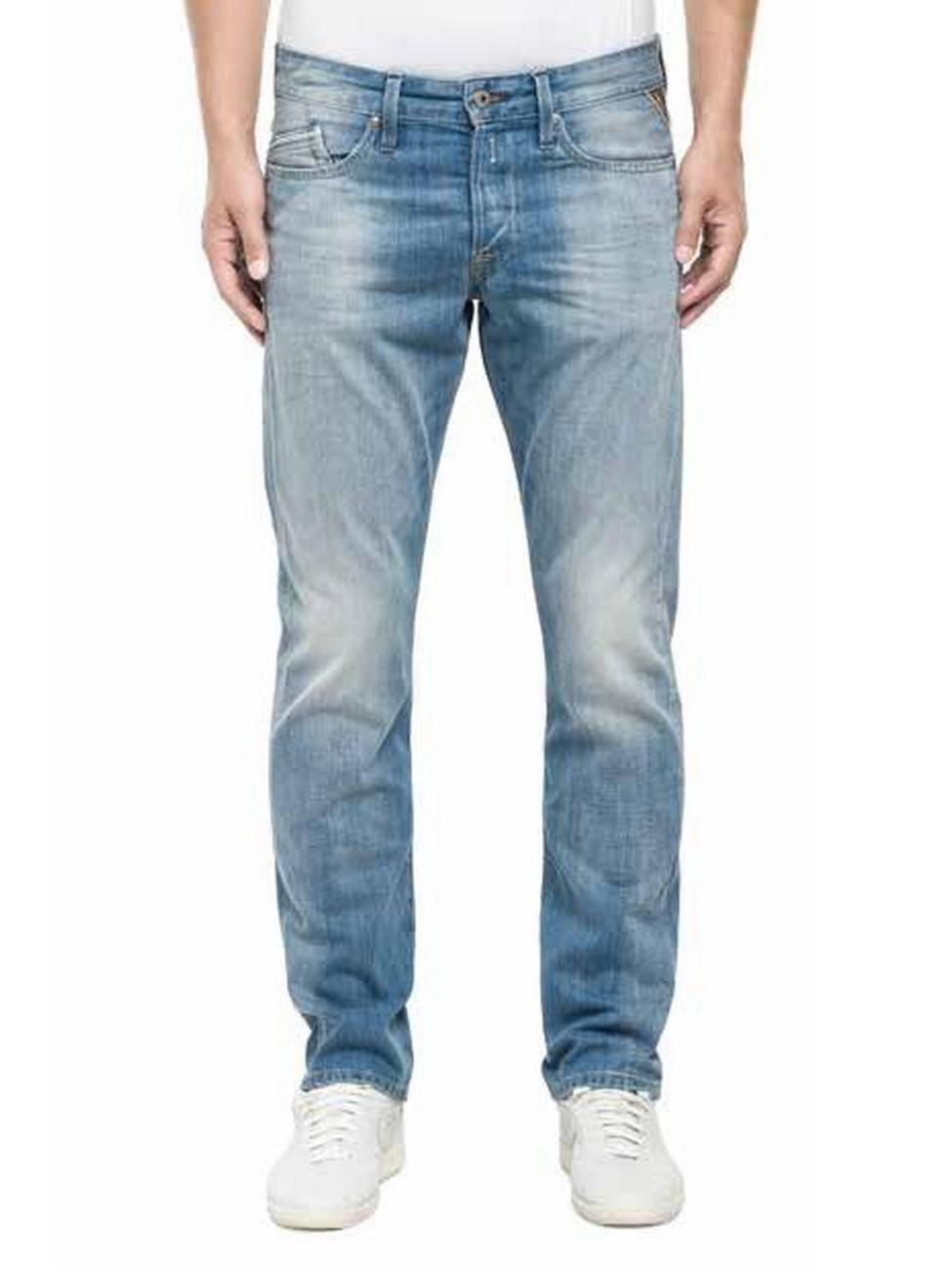 replay herren jeans waitom regular fit slim leg blau deep blue ebay. Black Bedroom Furniture Sets. Home Design Ideas