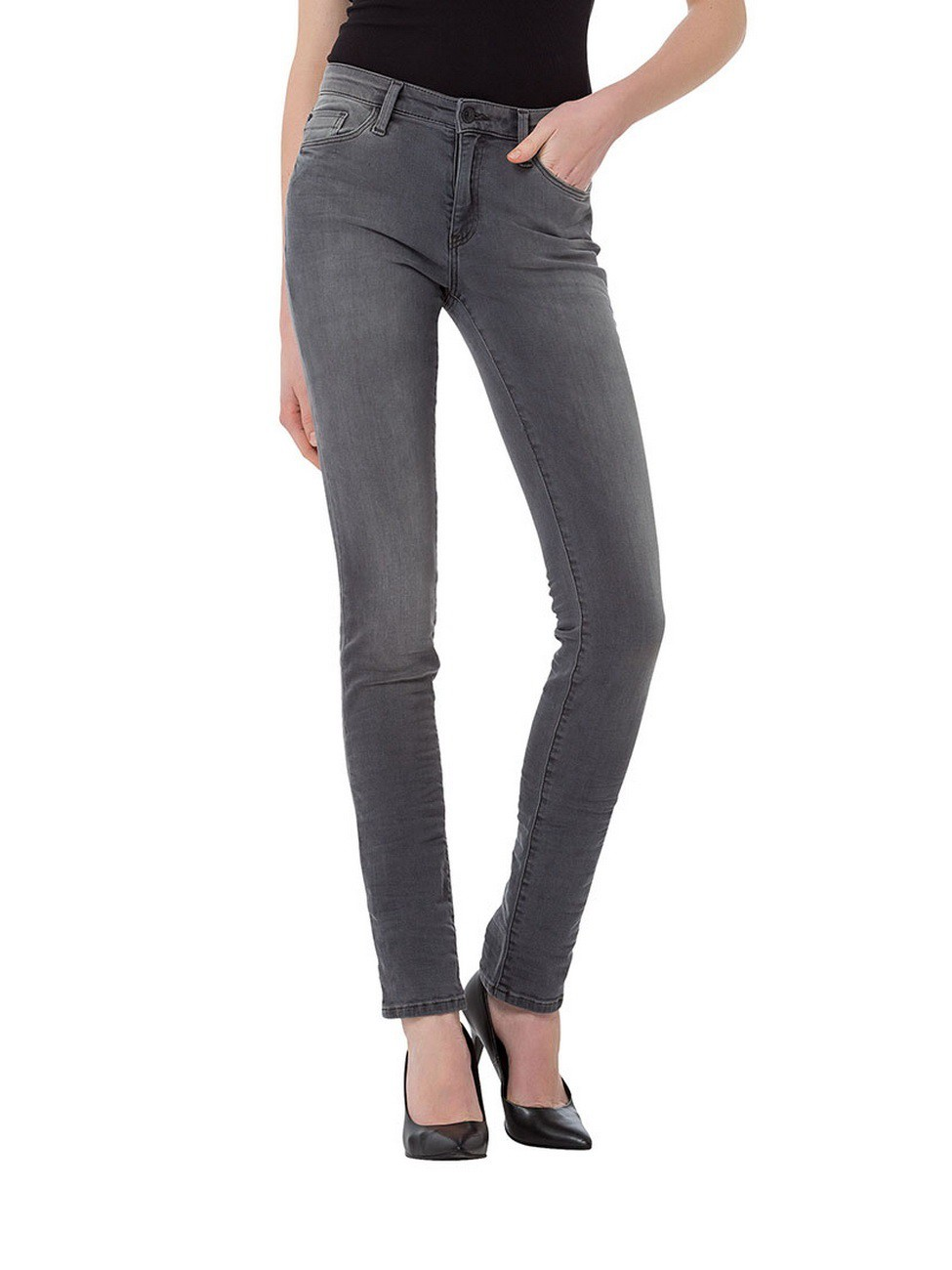 cross damen jeans anya slim fit grau grey ebay. Black Bedroom Furniture Sets. Home Design Ideas
