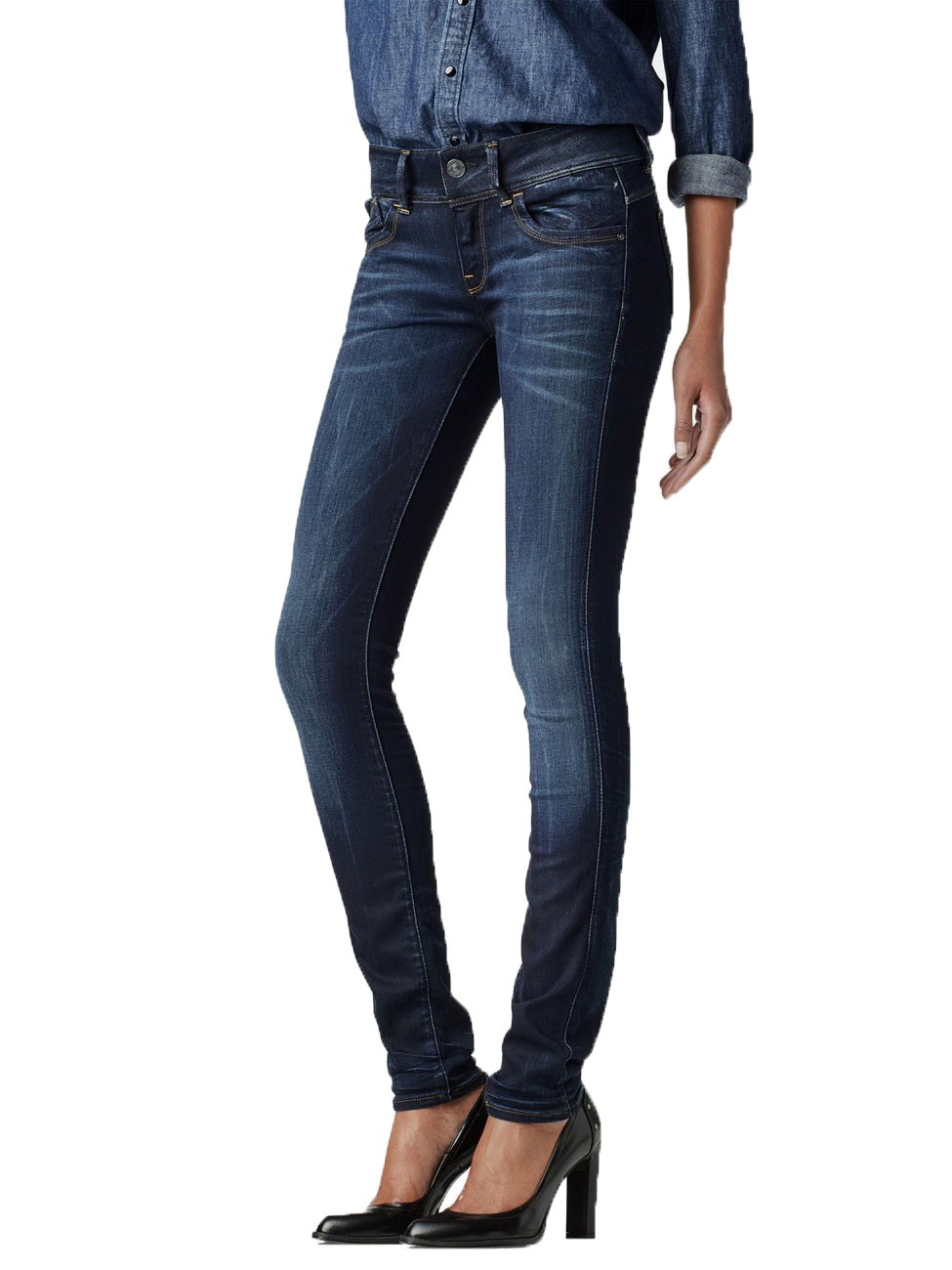 g star damen jeans lynn mid waist skinny fit blau medium aged ebay. Black Bedroom Furniture Sets. Home Design Ideas