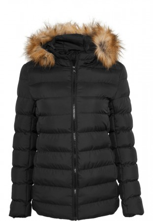 Urban Classics Damen Hooded Fur Jacke