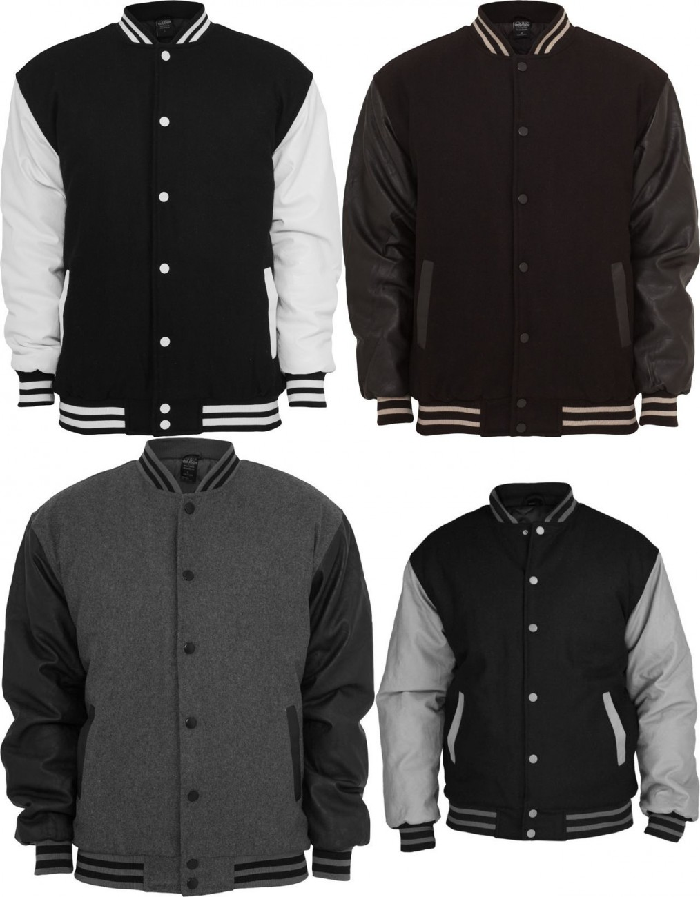 urban classics herren half leather college jacket tb 103. Black Bedroom Furniture Sets. Home Design Ideas