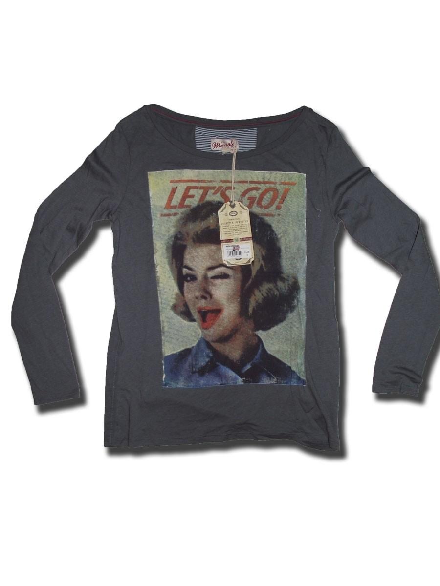 Wrangler langarm Shirt Jax Tee smoked pearl