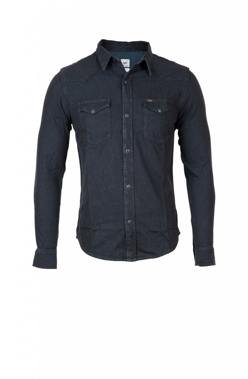 lee herren jeanshemd western hemd slim fit black denim. Black Bedroom Furniture Sets. Home Design Ideas