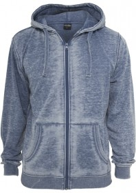 Urban Classics Herren Burnout Zip Kapuzenpullover - Regular Fit