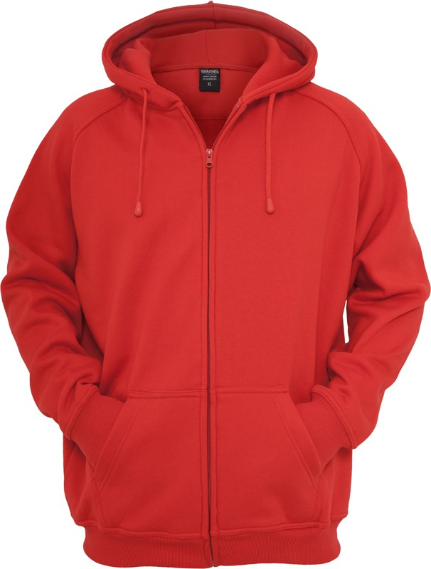 Urban Classics Herren Zip Kapuzenpullover - Urban Fit 2/2 XL, red