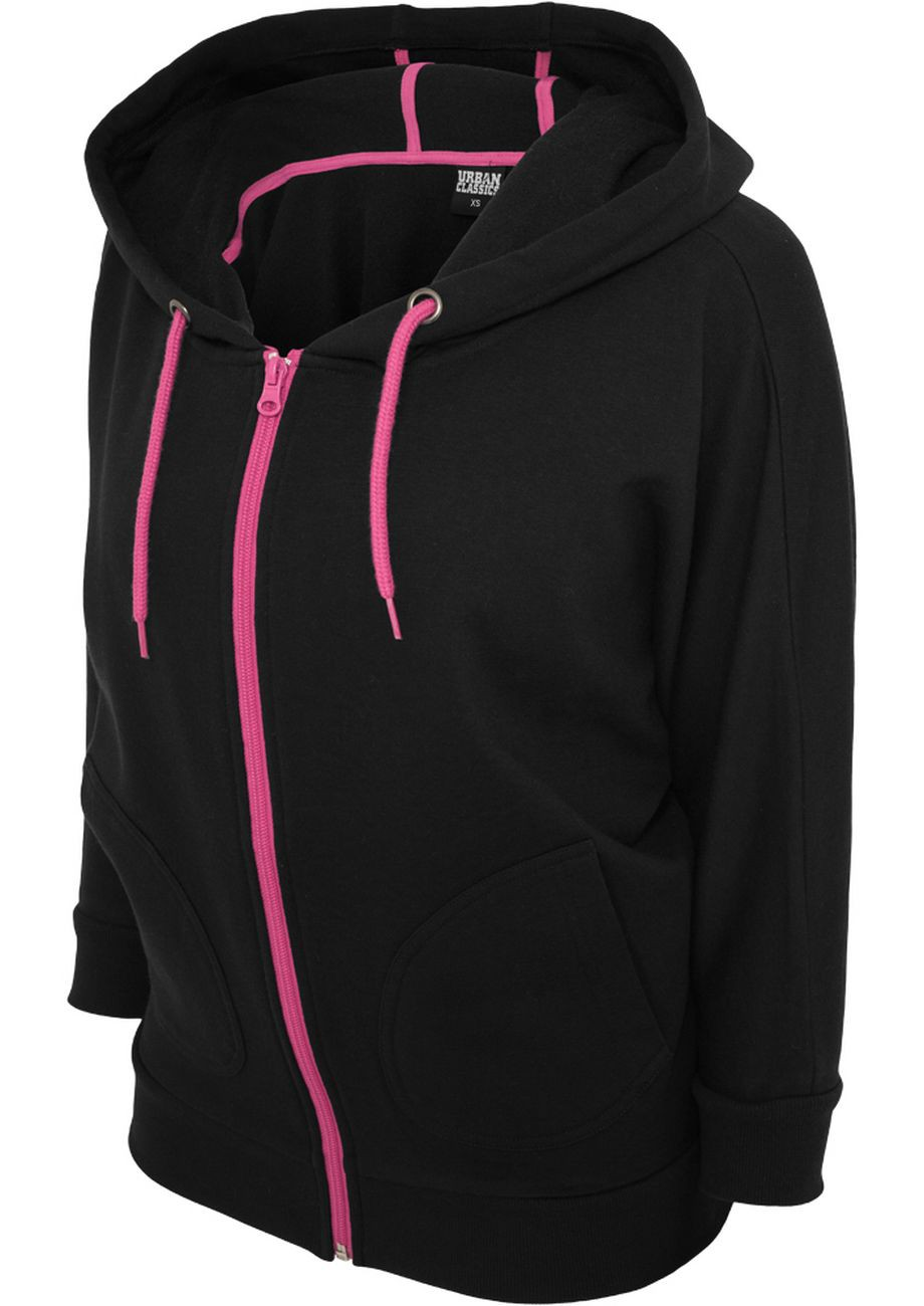 Urban Classics Ladies Bat 3/4 SLeeve Zip Hoody TB743