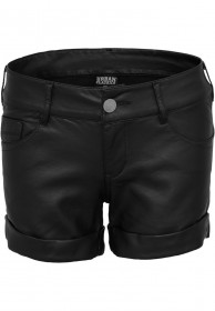 Urban Classics Damen Imitation Leather Hot Shorts