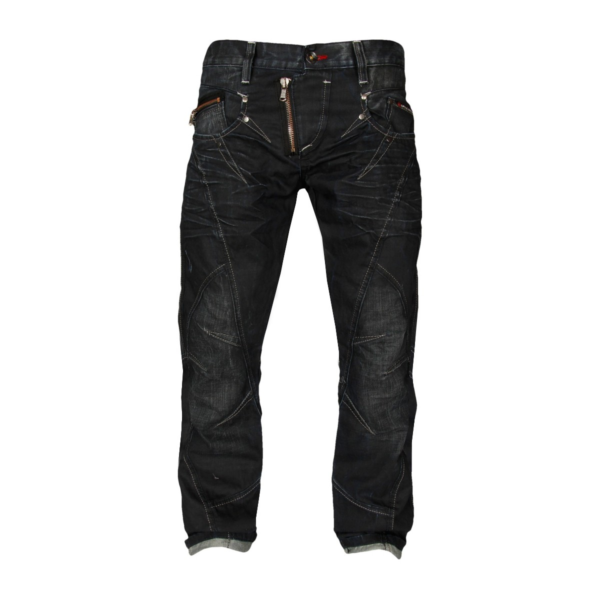 Cipo & Baxx Herren Jeans Pointed Teeth - Regular Fit - Schwarzblau