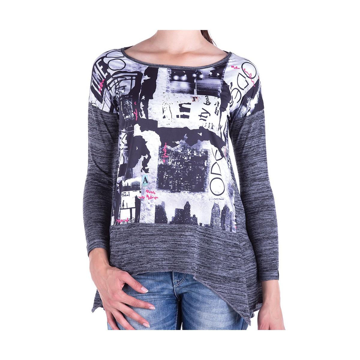 Cipo & Baxx Damen Street Mode SweatT-Shirt Pullover Sweater lli LongsLeeve Langarm grau