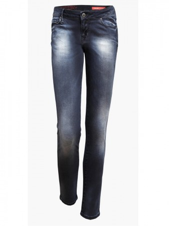 Cross Damen Jeans Adriana - Super Skinny Fit - Blue Black Shiny Used