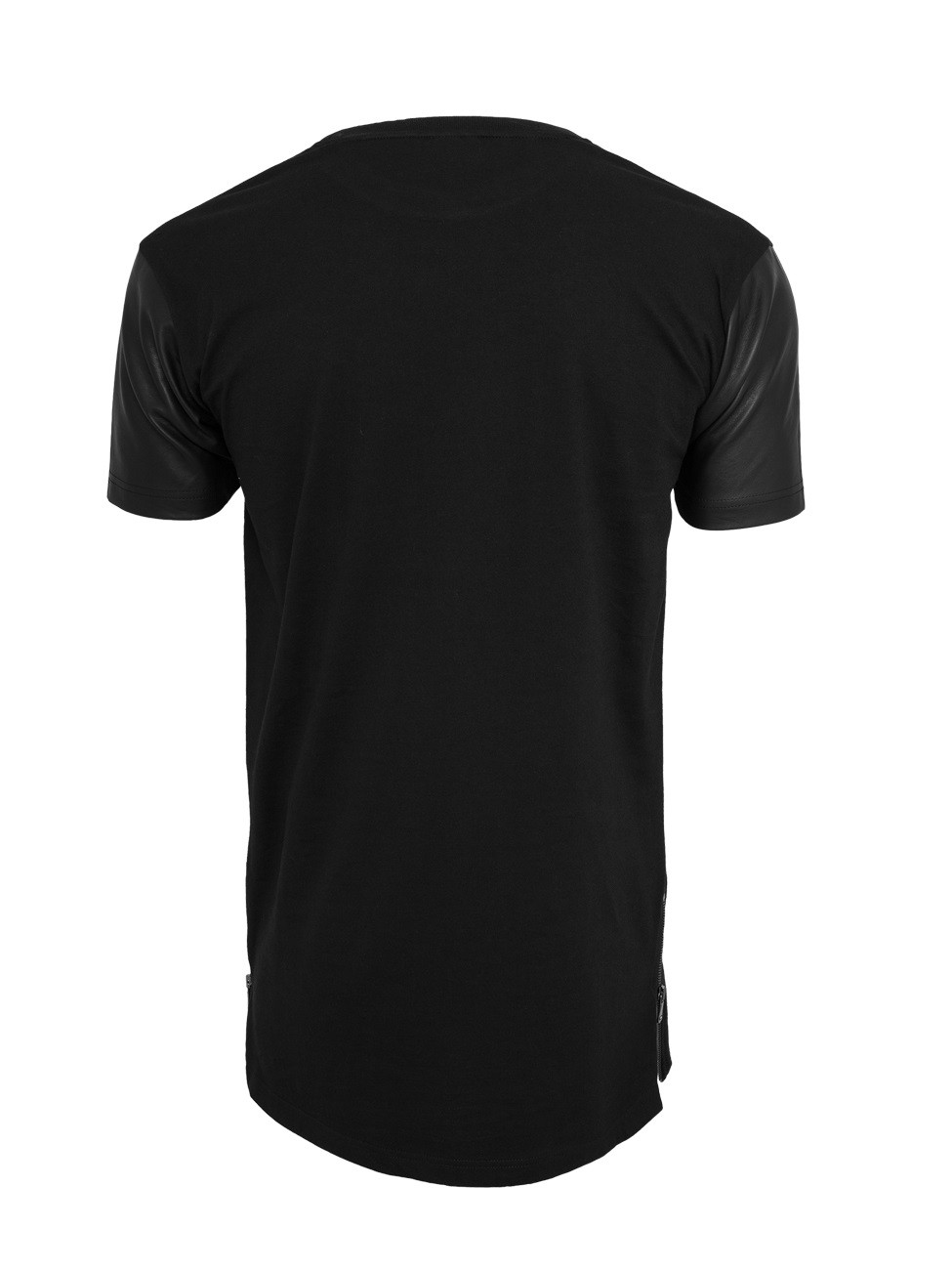 Urban Classics Herren Long Zipped Kunstleder T-Shirt