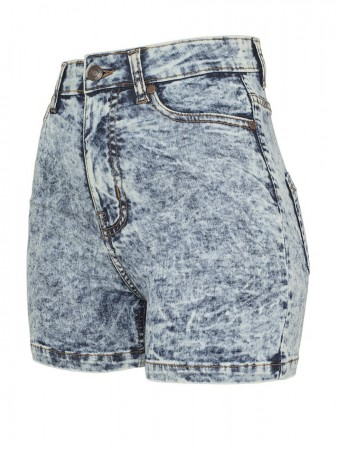 Urban Classics Damen High Waist Denim Skinny Shorts