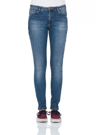 Cross Damen Jeans Alan - Skinny Fit - Blue Glaze Crincle
