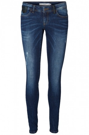 Vero Moda Damen Jeans VMONE - Super Slim Fit - Dark Blue Denim
