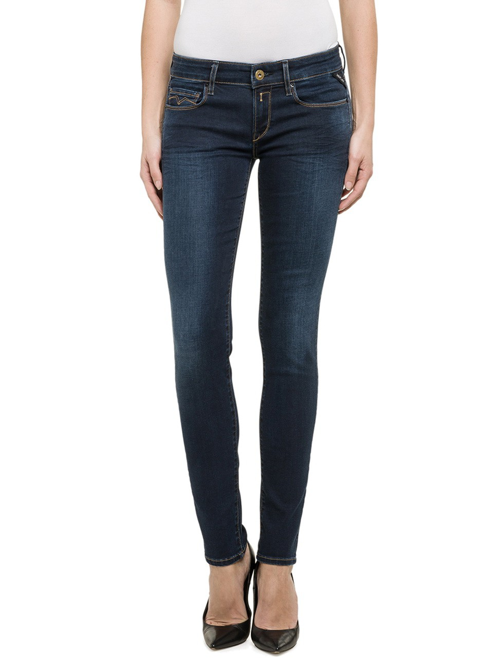 Replay Damen Jeans Rose - Skinny Fit - Dark Blue