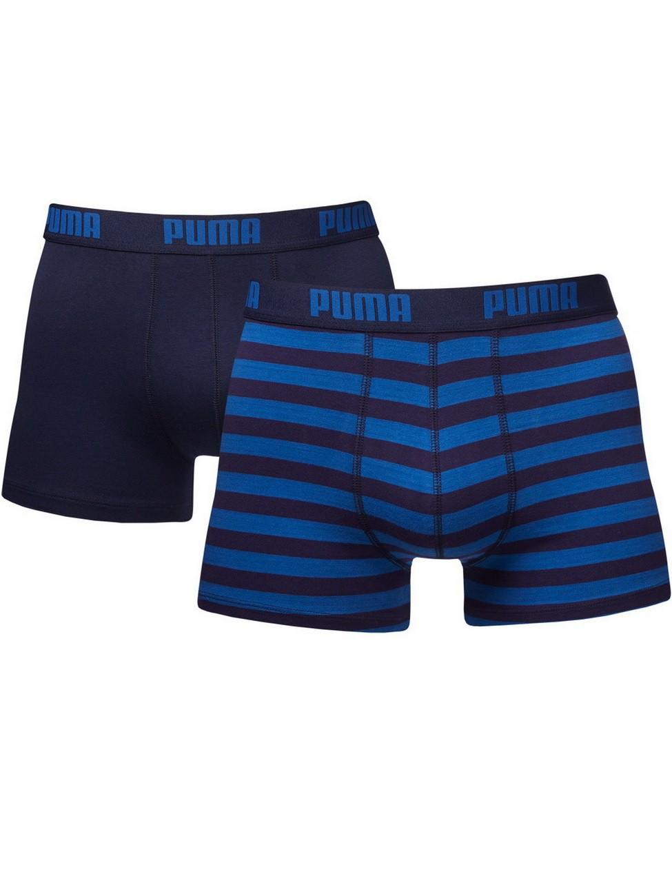 Puma Herren Boxershort Stripe Boxer 2er Pack L, blue (056).
