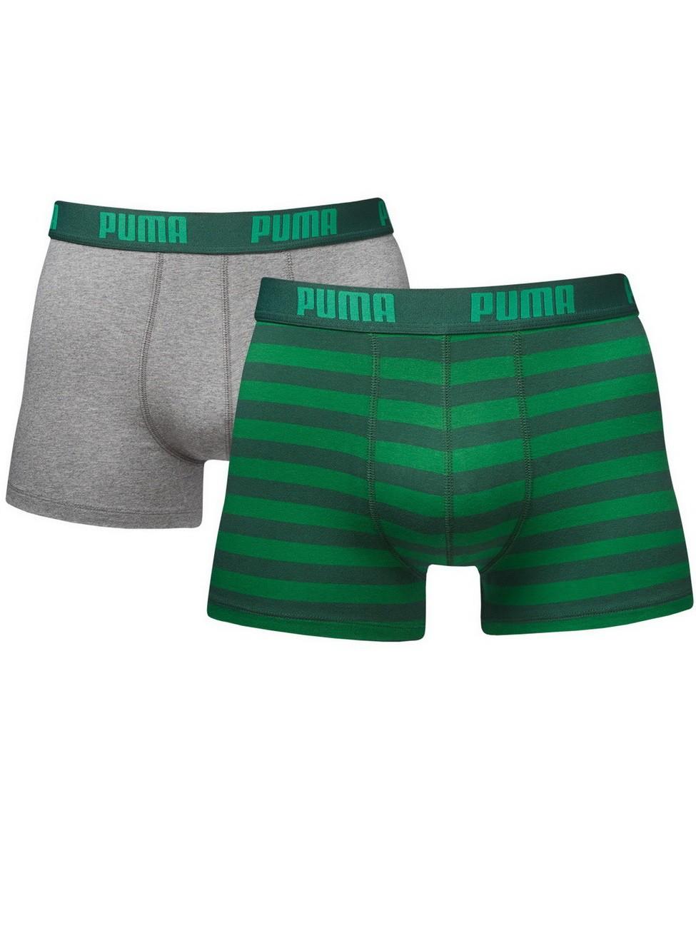Puma Herren Boxershort Stripe Boxer 2er Pack S, green (327).