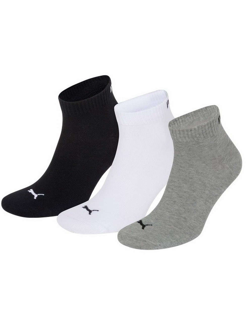 Puma Quarter Unisex Quarter Quarters Socken - 3er Pack 39-42, grey/white/black (882)