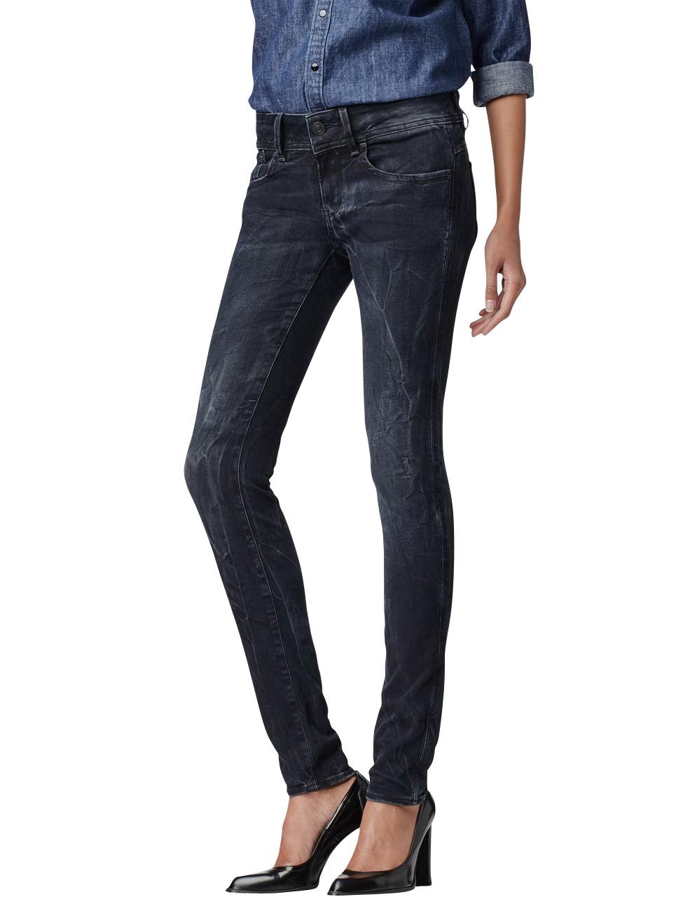 g star damen jeans lynn mid skinny dark aged kaufen. Black Bedroom Furniture Sets. Home Design Ideas