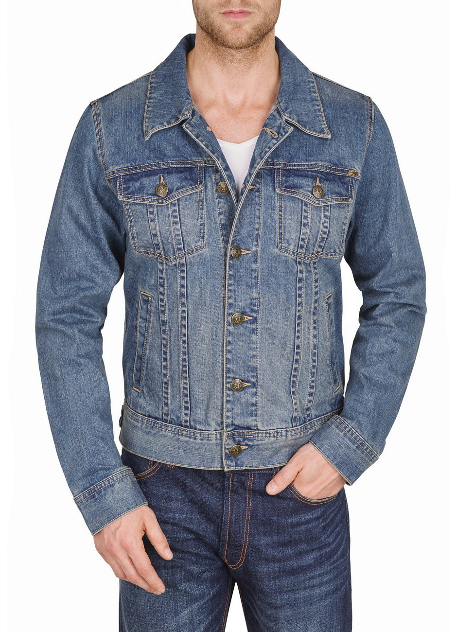 paddock s herren jeansjacke western jacket blau ebay. Black Bedroom Furniture Sets. Home Design Ideas