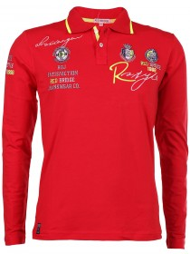 Red Bridge Herren Langarm Polo-Shirt mit Stickereien