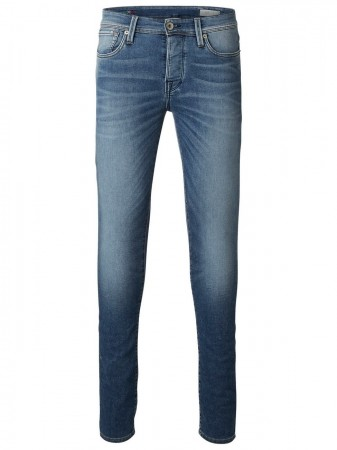 Selected Herren Jeans SHNTWOMARIO - Slim Fit -Blau - Medium Blue Denim