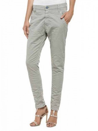 Replay Damen Jeans Denice Slim Low Crotch Fit - Grau - Grey