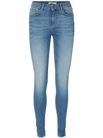 Vero Moda Damen Jeans VMLUX - Slim Fit - Blau - Light Blue Denim