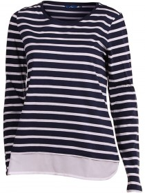 Tom Tailor Damen Langarm-T-Shirt 2 in 1 Stripe Tee