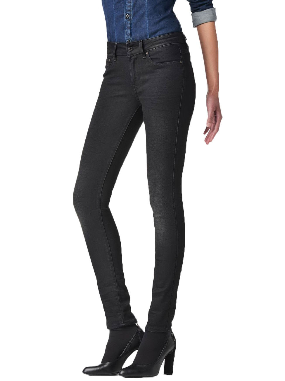 star jeans 3301 contour damen high waist skinny jeans blau dark. Black Bedroom Furniture Sets. Home Design Ideas