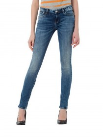 Cross Damen Jeans Adriana - Super Skinny Fit - Blau - Shadow Blue Used