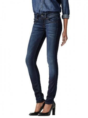 G-Star Damen Jeans Lynn Mid Waist Skinny Fit - Blau - Medium Aged