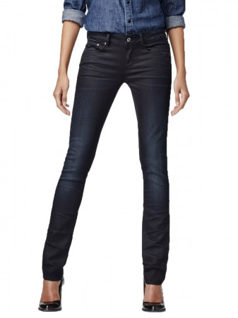 G-Star Damen Jeans Attacc Mid Waist Straight Fit - Blau - Dark Aged