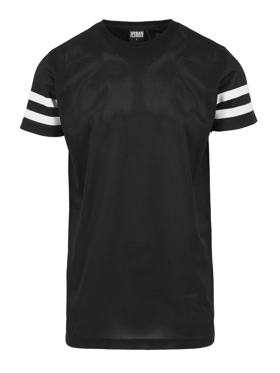 Urban Classics Herren Stripe Mesh T-Shirt S, Black-White (00050)