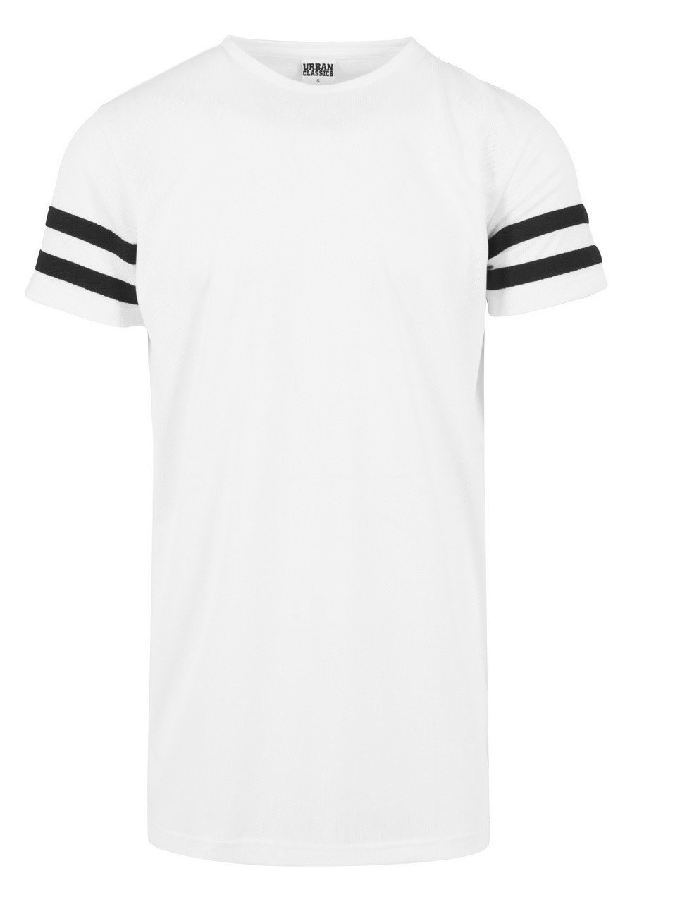 Urban Classics Herren Stripe Mesh T-Shirt L, White-Black (00224)