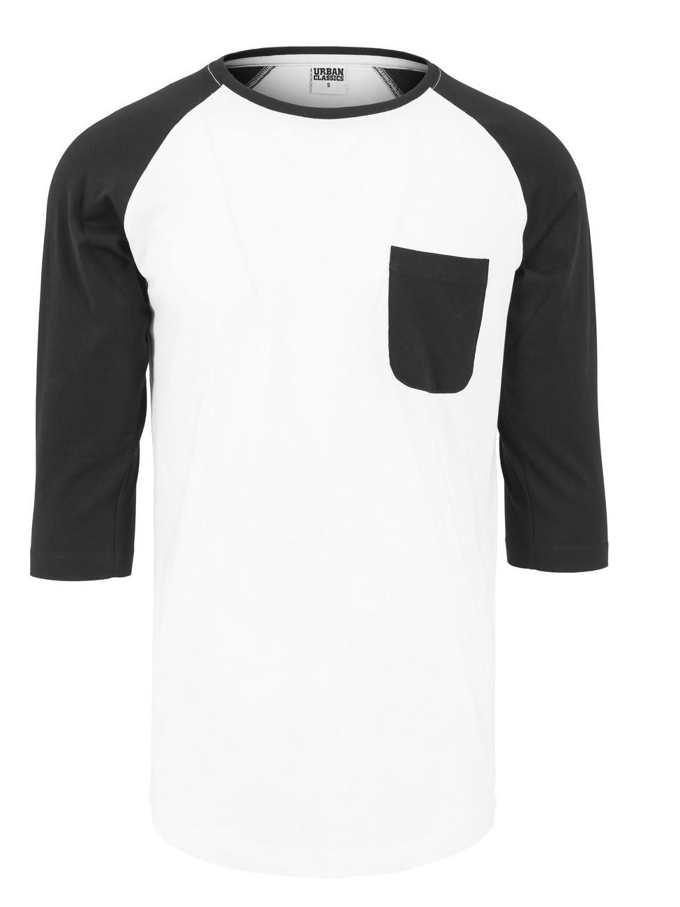 Urban Classics Herren Long Raglan 3/4 Sleeve Pocket Shirt L, White-Black (00224)