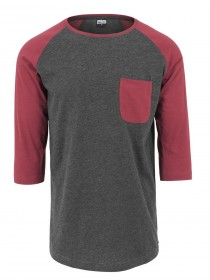Urban Classics Herren Long Raglan 3/4 Sleeve Pocket Shirt