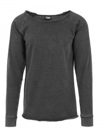 Urban Classics Herren Sweater Long Burnout Open Edge Crewneck