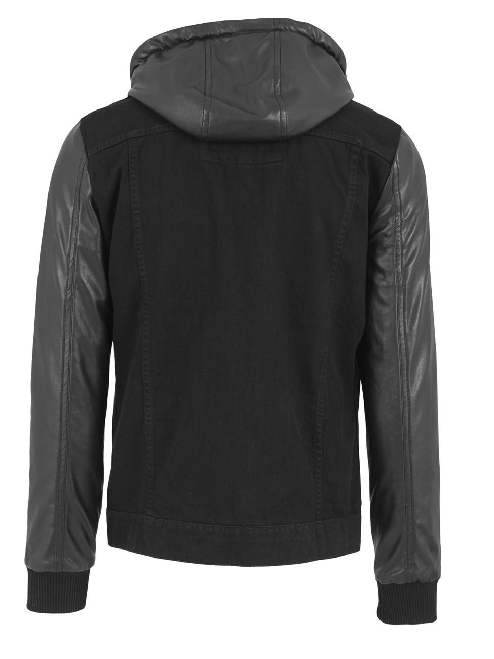 urban classics herren hooded denim leather imitation jacket kaufen jeans direct de. Black Bedroom Furniture Sets. Home Design Ideas