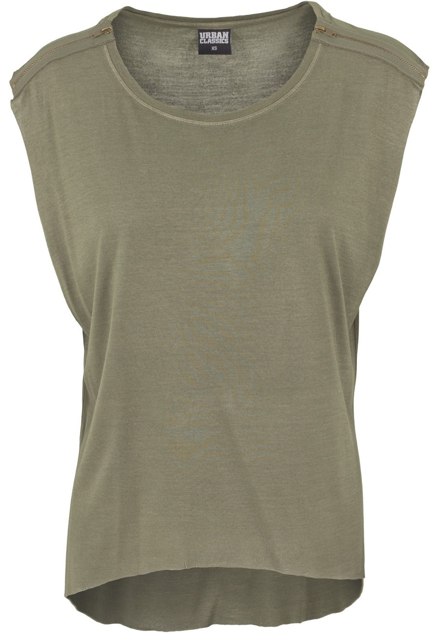 Urban Classics Ladies Shoulder Zip HiLo Tee