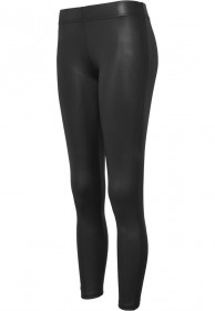 Bild 1 - Urban Classics Ladies Leather Imitation Damen Leggings - schwarz