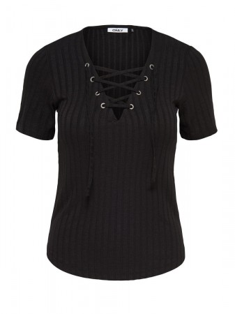 Only Damen Top ONLCOOL RIPSI LACE UP 2/4