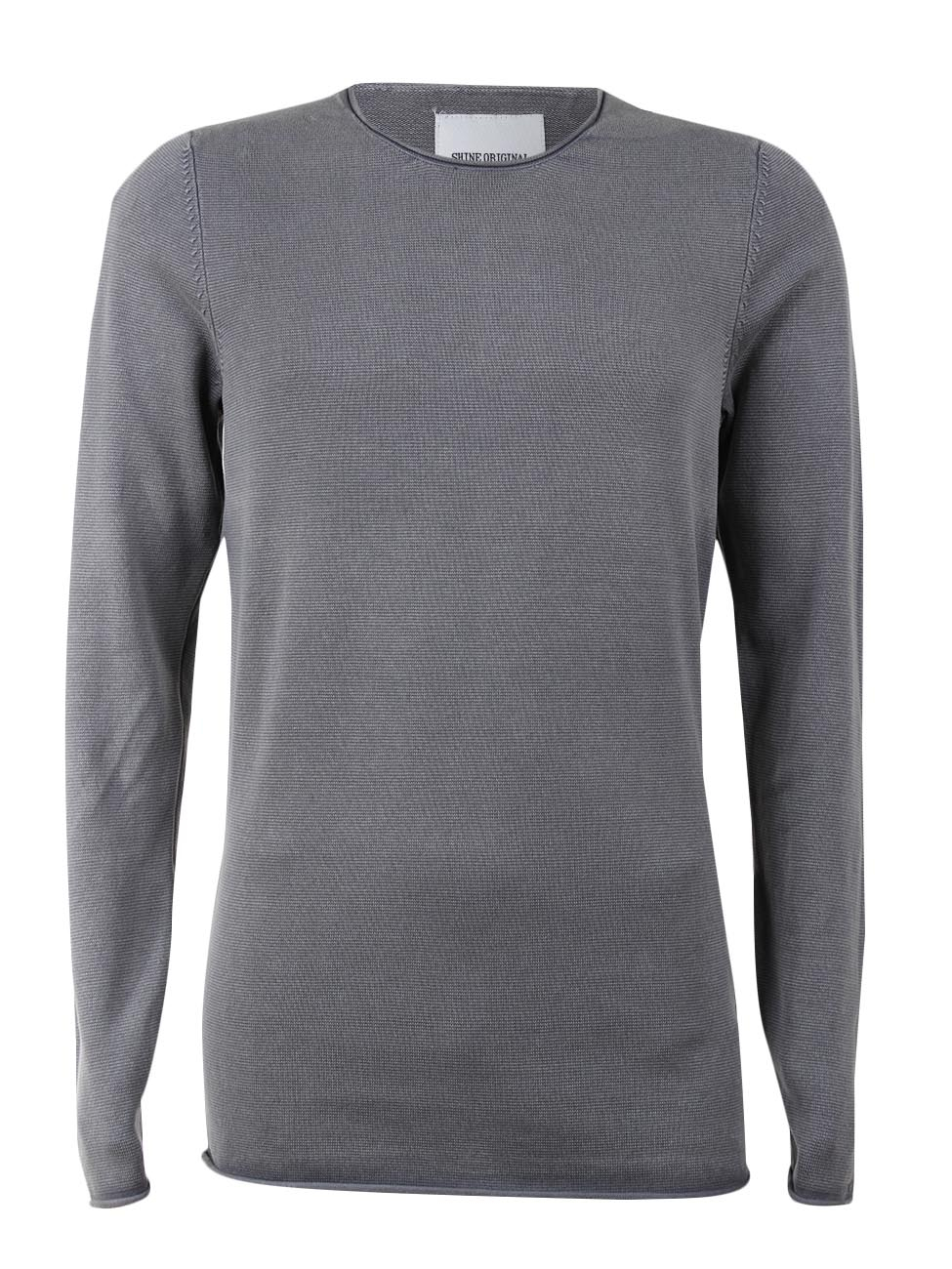 Shine Original Herren Rundhals Pullover - Acid Wash - Roll Edge Knit