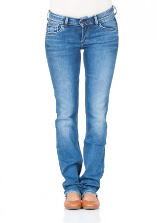 Pepe Jeans London Damen Jeans Saturn - Slim Fit - Blau - Redux Stretch Medium