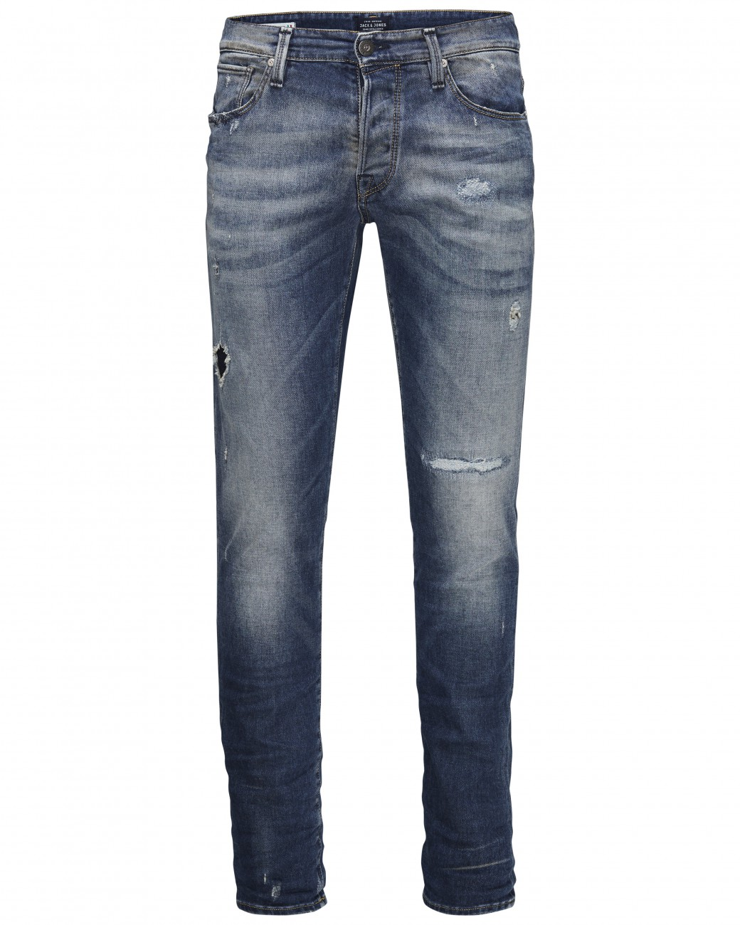 Jack & Jones Herren Jeans JJIGLENN JJICON BL 670 INDIGO KNIT - Slim Fit - Blau - Blue Denim