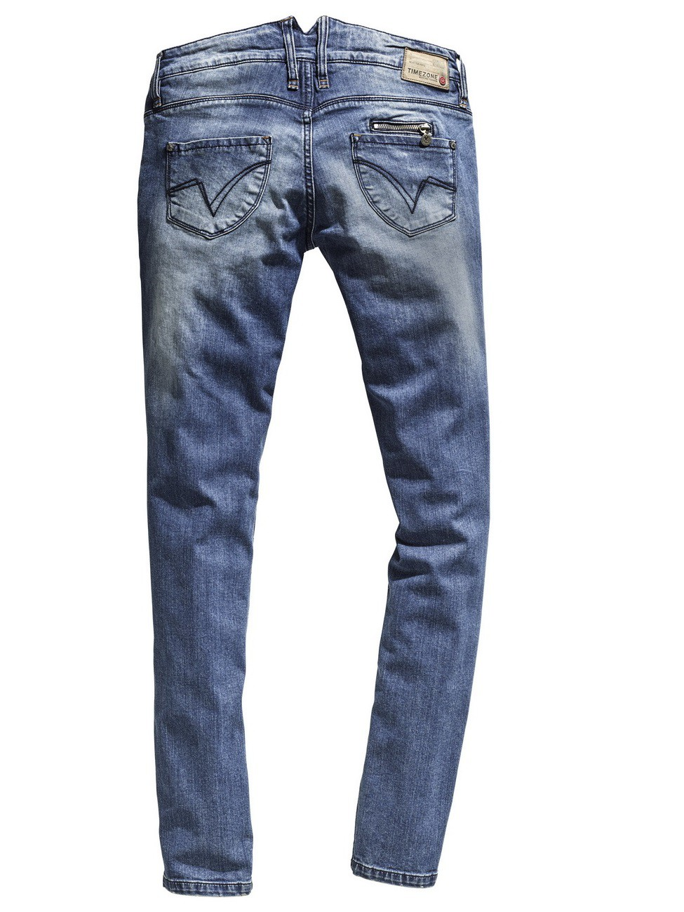 Timezone Damen Jeans New KairinaTZ - Slim Fit - Blau - Rock Blue Wash