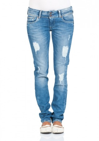 Pepe Jeans London Damen Jeans Vera - Regular Fit - Blau - Retro Ring Open Destroyed